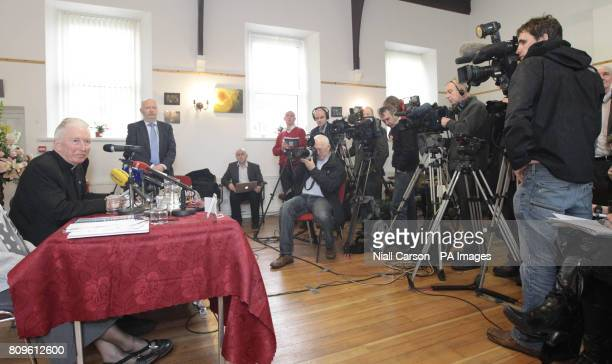 Bishop of Raphoe Philip Boyce holds a press conference at the Diocesan Pastoral Centre Hall in Letterkenny Co Donegal following the publication of a...