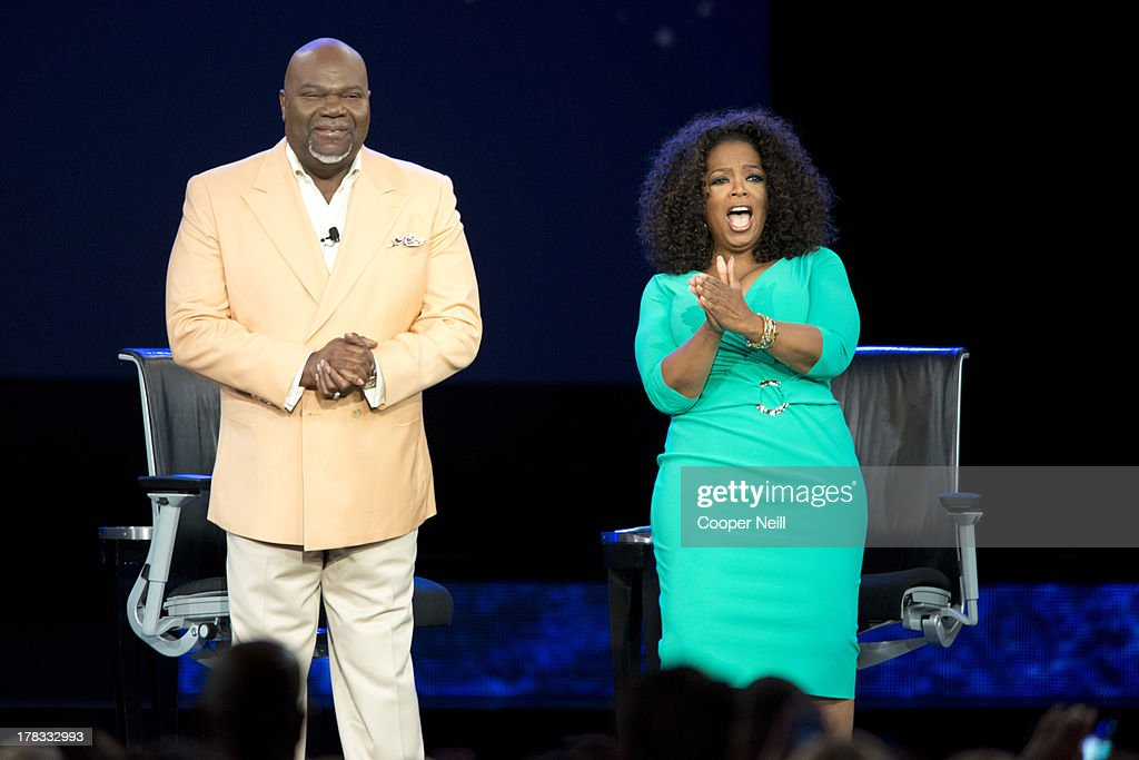 Bishop T.D. Jakes and <a gi-track='captionPersonalityLinkClicked' href=/galleries/search?phrase=Oprah+Winfrey&family=editorial&specificpeople=171750 ng-click='$event.stopPropagation()'>Oprah Winfrey</a> speak during a live taping of 'Oprah's Lifeclass' at the American Airlines Center on August 29, 2013 in Dallas, Texas.