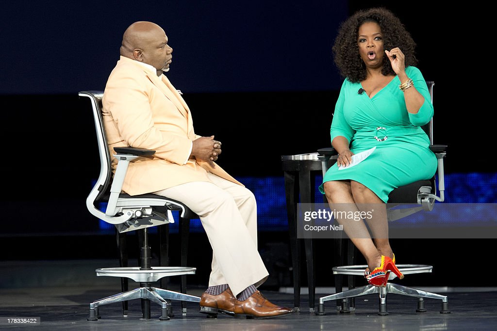 Bishop T.D. Jakes and <a gi-track='captionPersonalityLinkClicked' href=/galleries/search?phrase=Oprah+Winfrey&family=editorial&specificpeople=171750 ng-click='$event.stopPropagation()'>Oprah Winfrey</a> speak in a live taping of 'Oprah's Lifeclass' during MegaFest at the American Airlines Center on August 29, 2013 in Dallas, Texas.