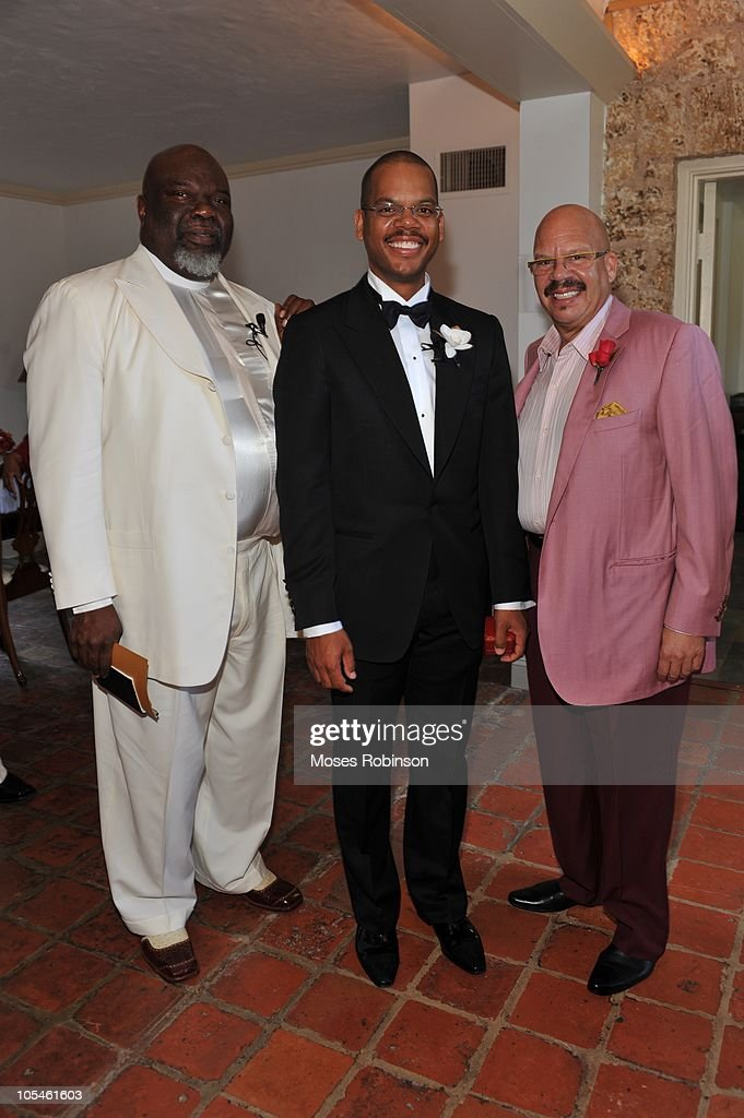 Bishop T.D. Jakes, Oscar Joyner and Tom Joyner pose at Alem Gola and Oscar Joyner Wedding Ceremony on October 9, 2010 in Miami, Florida.