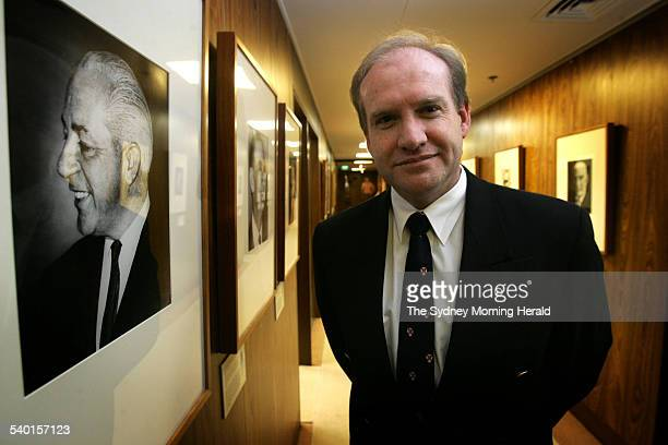 Bishop Tom Frame author of The Life and Death of Harold Holt with a portrait of Prime Minister Holt at Old Parliament House Canberra 4 August 2005...