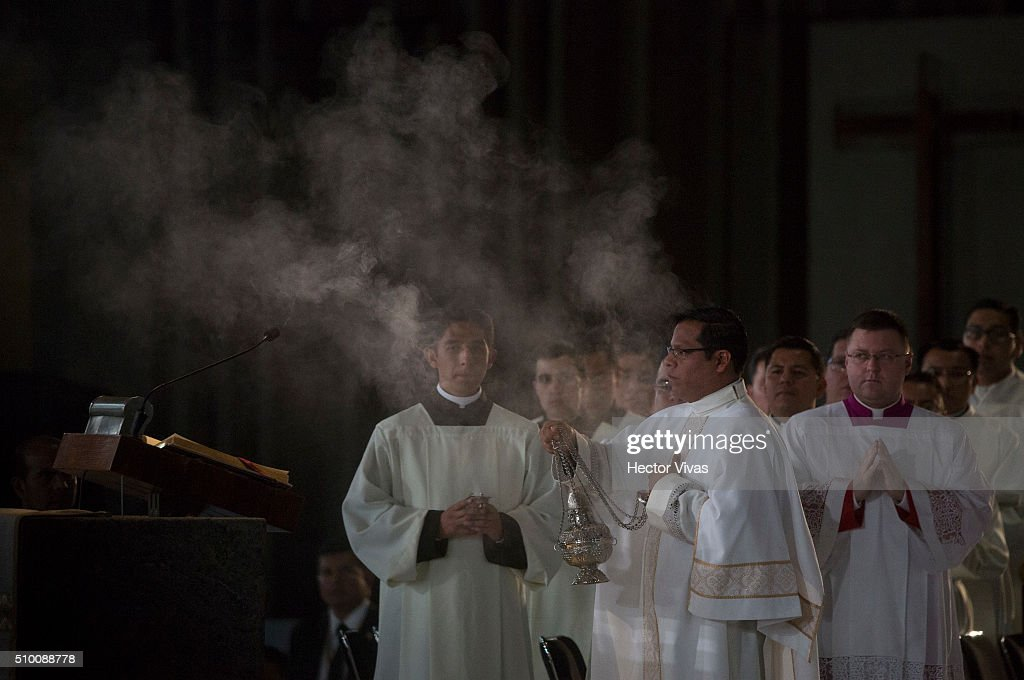 A bishop waves the censer during a mass for the people at Basilica de Guadalupe on February 13, 2016 in Mexico City, Mexico. Pope Francis is on a five days visit in Mexico from February 12 to 17 where he is expected to visit five states.