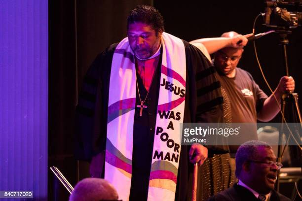 Bishop William J Barber II Pastor Greenleaf Christian Church Disciples of Christ Goldsboro NC leaves the stage after preaching at Howard Universitys...