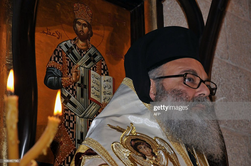 Bishop Yuhanna Yazigi attends his inauguration ceremony at the Balamand Monastery, north of Beirut, on December 17, 2012, after he was elected as the new Patriarch of the Greek Orthodox church in Syria. AFP PHOTO / IBRAHIM CHALHOUB