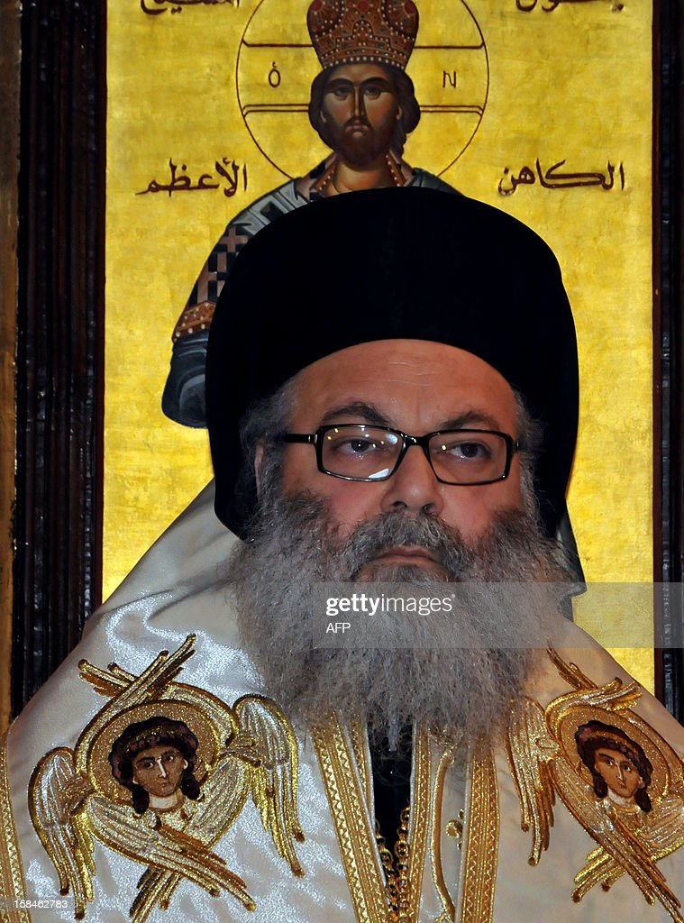 Bishop Yuhanna Yazigi is seen at his inauguration ceremony at the Balamand Monastery, north of Beirut, on December 17, 2012, after he was elected as the new Patriarch of the Greek Orthodox church in Syria. AFP PHOTO / IBRAHIM CHALHOUB