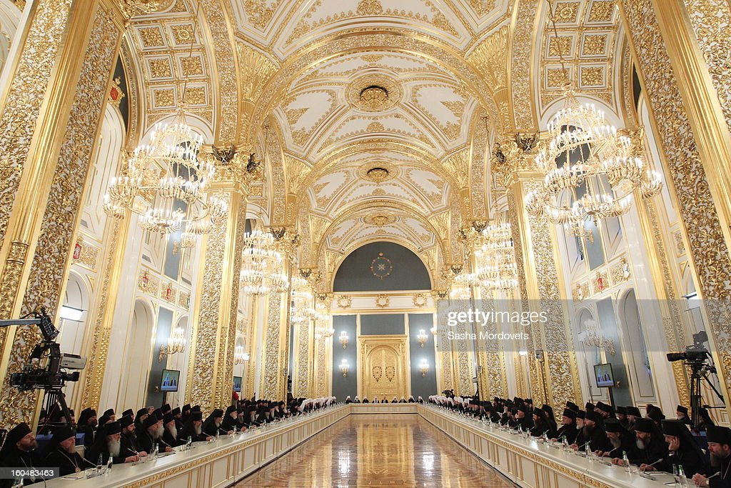 Bishops attend a congress of Russian Orthodox Church bishops in the Grand Kremlin Palace February,1,2013 in Moscow, Russia. The congress comes ahead of Putin's visit to Stalingrad tomorrow for a military parade commemorating the battle that proved pivotal in World War II.