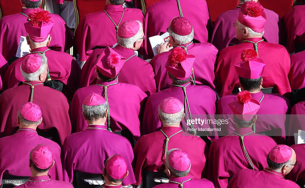 Bishops gather during the Inauguration Mass for Pope Francis in St Peter's Square on March 19, 2013 in Vatican City, Vatican. The mass is being held in front of an expected crowd of up to one million pilgrims and faithful who have filled the square and the surrounding streets to see the former Cardinal of Buenos Aires officially take up his role as pontiff. Pope Francis' inauguration takes place in front of Cardinals and spiritual leaders as well as heads of state from around the world.