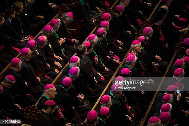 Bishops listen as Pope Francis addresses the audience at Saint Charles Borromeo Seminary September 27 2015 in Wynnewwod Pennsylvania After visiting...