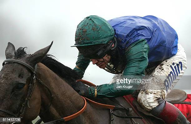 Bishops Road ridden by Richard Johnson wins the Betfred Grand National Trial at Haydock racecourse on February 20 2016 in Haydock England