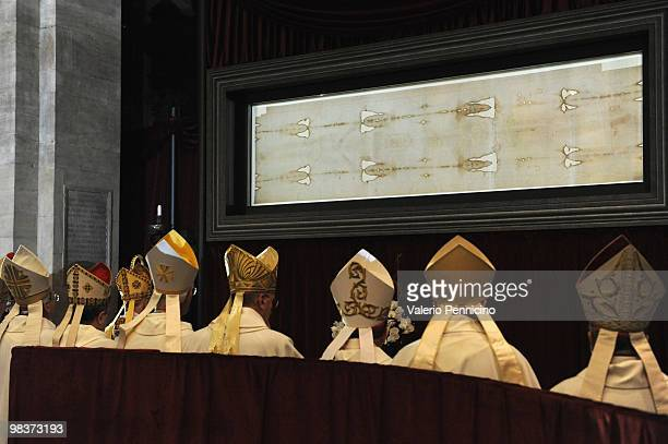 Bishops stand in front of the Shroud of Turin during of the Solemn Exposition Of The Holy Shroud on April 10 2010 in Turin ItalyThe Holy Shroud will...