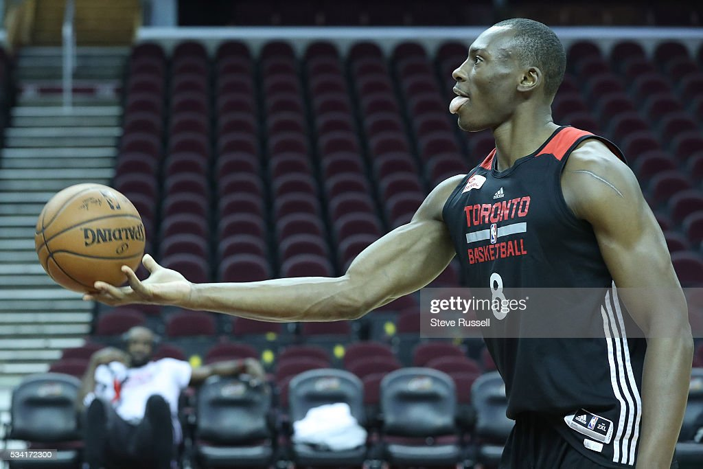 Bismack Biyombo experiments with an underhanded throw as the Toronto Raptors prepare to play the Cleveland Cavaliers in game 5 of the NBA Conference Finals at Quicken Loans Arena in Cleveland. May 25, 2016.