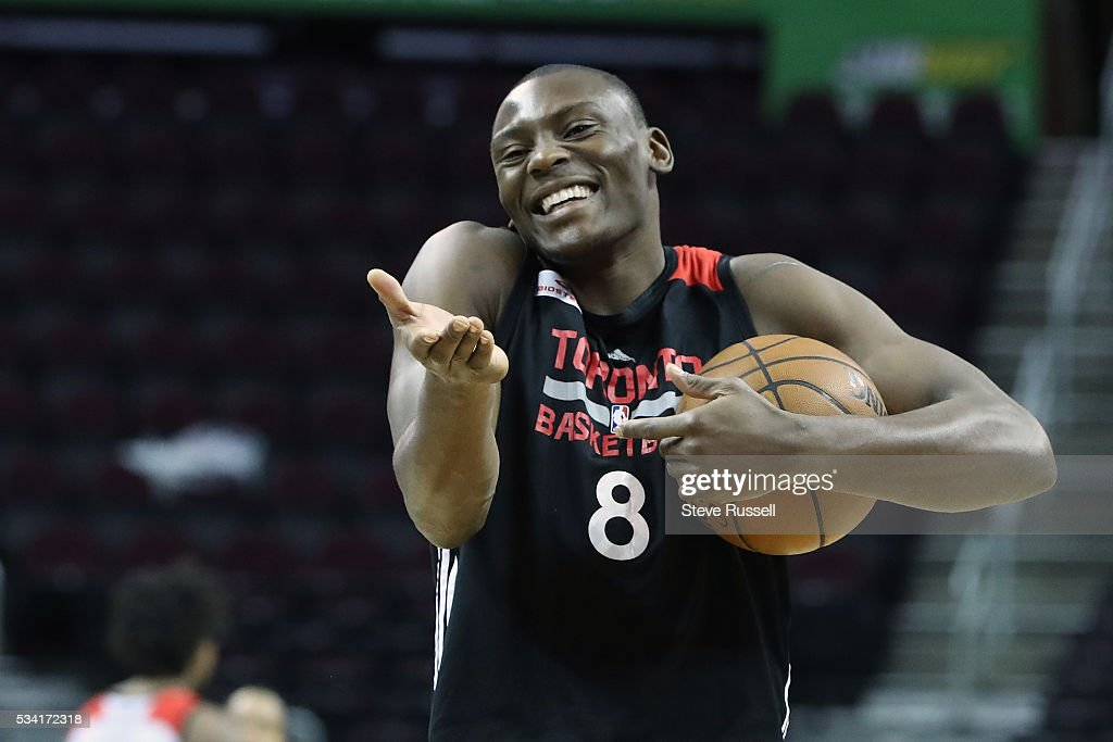 Bismack Biyombo laughs after experimenting with an underhanded throw as the Toronto Raptors prepare to play the Cleveland Cavaliers in game 5 of the NBA Conference Finals at Quicken Loans Arena in Cleveland. May 25, 2016.