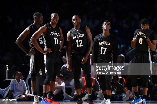 Bismack Biyombo Luc Mbah a Moute Dennis Schroder Emmanuel Mudiay and Gorgui Dieng of Team Africa look on against Team World in the 2017 Africa Game...