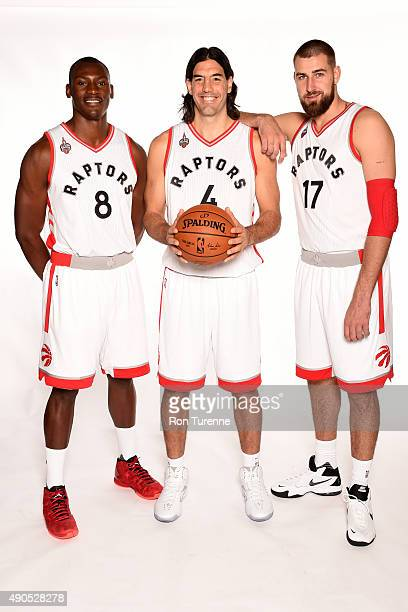Bismack Biyombo Luis Scola and Jonas Valanciunas of the Toronto Raptors poses for a photo during media day on September 28 at the Air Canada Centre...
