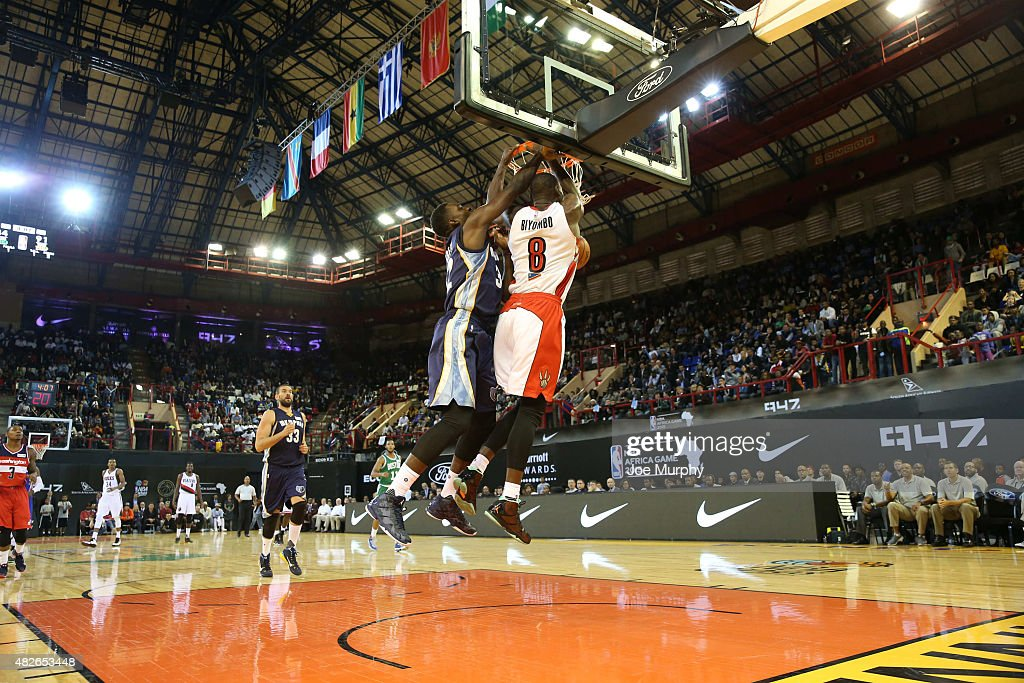 Bismack Biyombo #8 of Team Africa dunks against Jeff Green #32 of Team World during the NBA Africa Game 2015 as part of Basketball Without Boarders on August 1, 2015 at Ellis Park Arena in Johannesburg, South Africa.