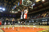 Bismack Biyombo of Team Africa dunks against Jeff Green of Team World during the NBA Africa Game 2015 as part of Basketball Without Boarders on...