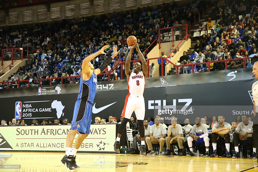 Bismack Biyombo #8 of Team Africa shoots against Nikola Vucevic #9 of Team World during the NBA Africa Game 2015 as part of Basketball Without Boarders on August 1, 2015 at Ellis Park Arena in Johannesburg, South Africa.
