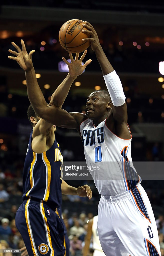 Bismack Biyombo #0 of the Charlotte Bobcats drives to the basket against the Indiana Pacers during their game at Time Warner Cable Arena on January 15, 2013 in Charlotte, North Carolina.