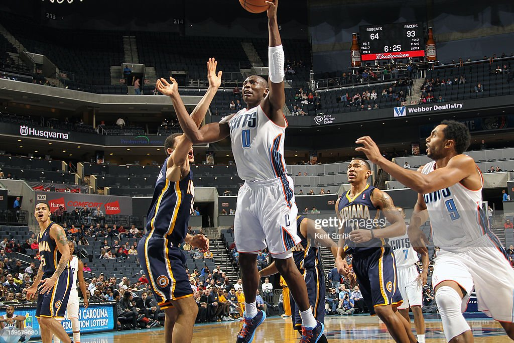 Bismack Biyombo #0 of the Charlotte Bobcats drives to the basket against the Indiana Pacers at the Time Warner Cable Arena on January 15, 2013 in Charlotte, North Carolina.