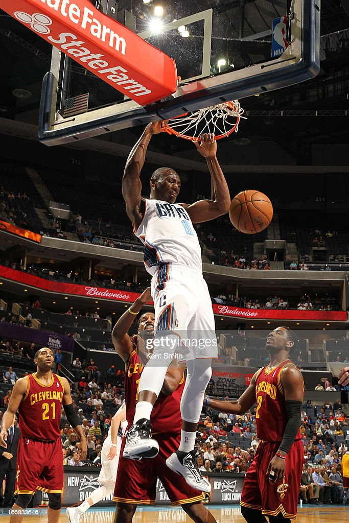 Bismack Biyombo #0 of the Charlotte Bobcats dunks against the Cleveland Cavaliers at the Time Warner Cable Arena on April 17, 2013 in Charlotte, North Carolina.