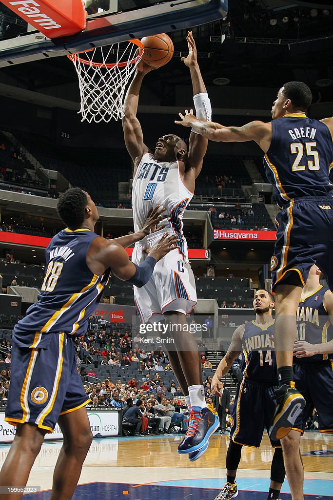 Bismack Biyombo #0 of the Charlotte Bobcats dunks against the Indiana Pacers at the Time Warner Cable Arena on January 15, 2013 in Charlotte, North Carolina.