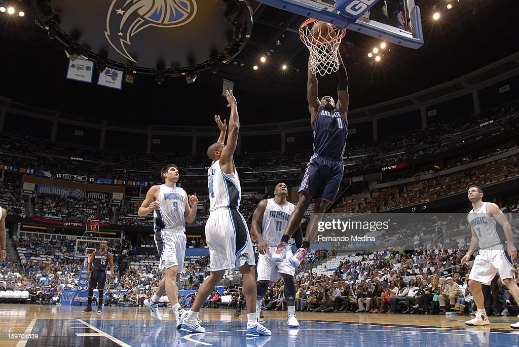 Bismack Biyombo #0 of the Charlotte Bobcats dunks against the Orlando Magic on January 18, 2013 at Amway Center in Orlando, Florida.