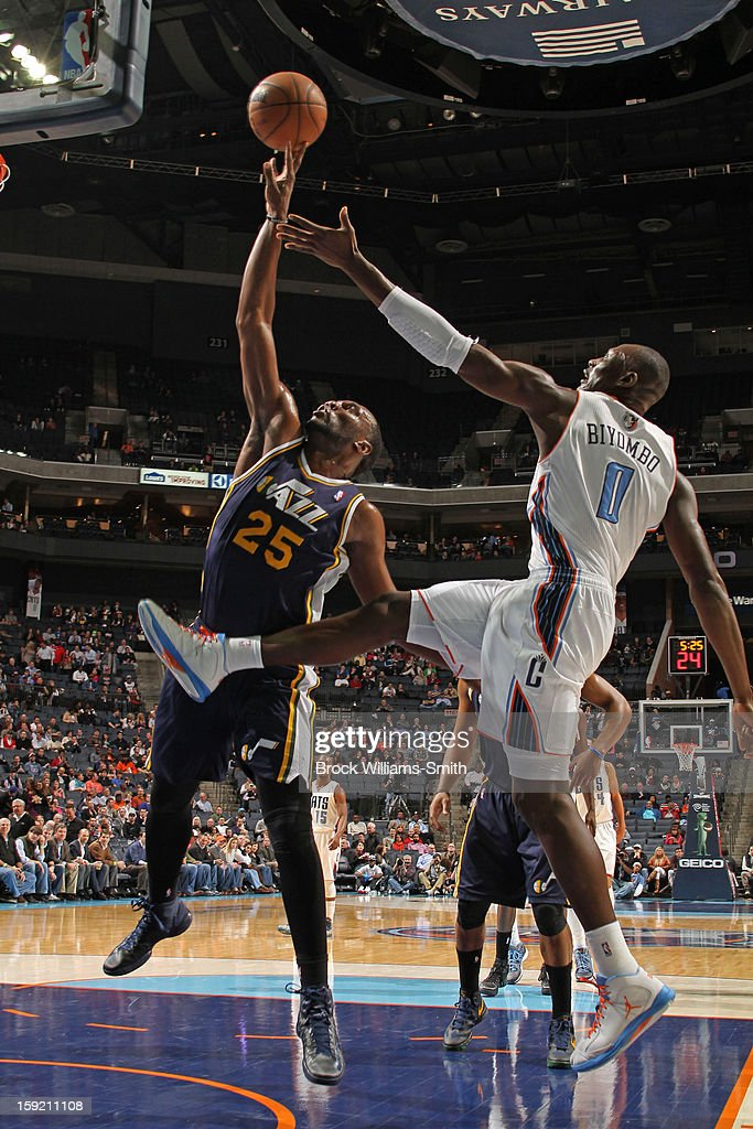 Bismack Biyombo #0 of the Charlotte Bobcats goes for the rebound against Al Jefferson #25 of the Utah Jazz at the Time Warner Cable Arena on January 9, 2013 in Charlotte, North Carolina.