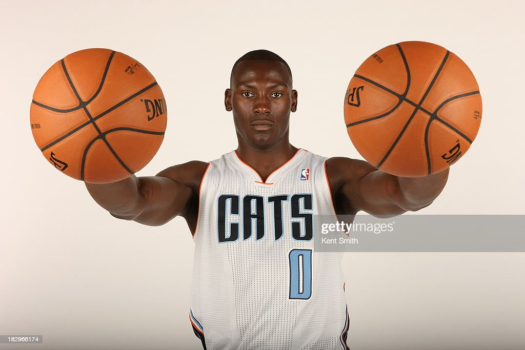 Bismack Biyombo #0 of the Charlotte Bobcats poses for a portrait on media day at the Time Warner Cable Arena on September 30, 2013 in Charlotte, North Carolina.