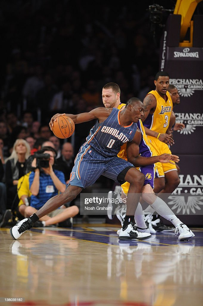 Bismack Biyombo #0 of the Charlotte Bobcats protects the ball during the game between the Los Angeles Lakers and the Charlotte Bobcats at Staples Center on January 31, 2012 in Los Angeles, California.