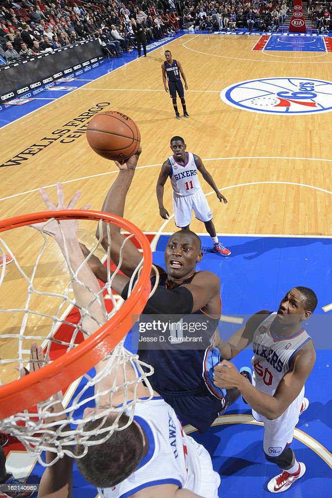Bismack Biyombo #0 of the Charlotte Bobcats puts up a shot against the Philadelphia 76ers at the Wells Fargo Center on February 9, 2013 in Philadelphia, Pennsylvania.