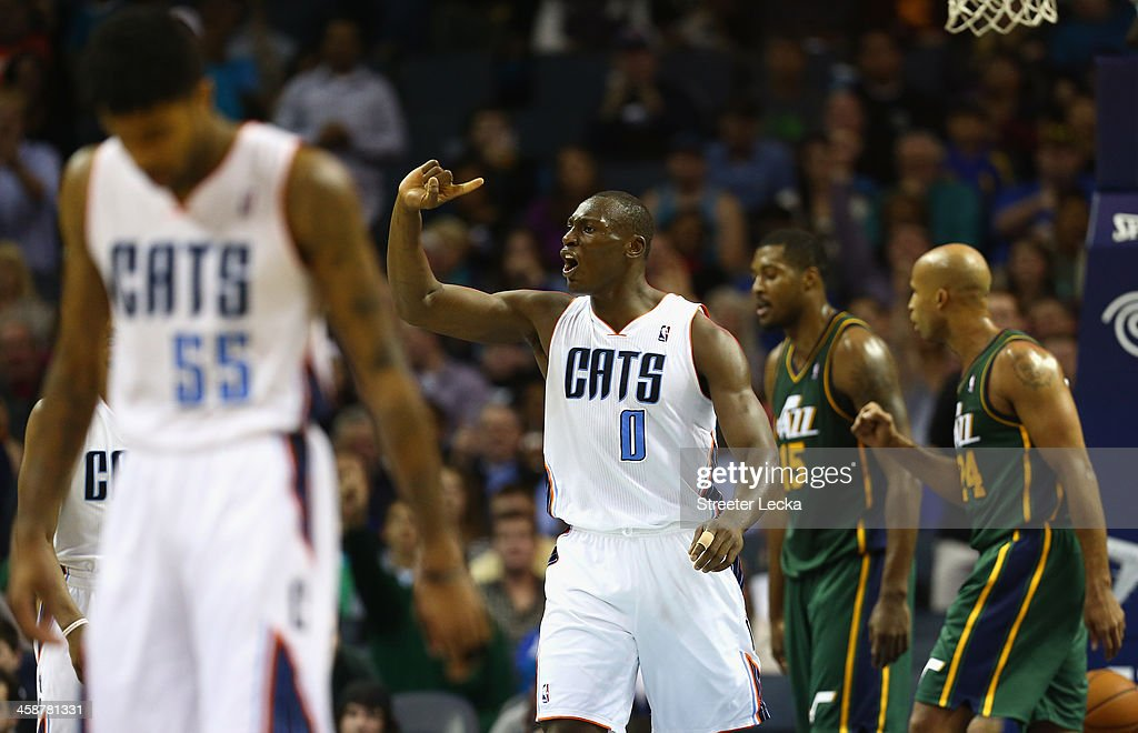 <a gi-track='captionPersonalityLinkClicked' href=/galleries/search?phrase=Bismack+Biyombo&family=editorial&specificpeople=7640443 ng-click='$event.stopPropagation()'>Bismack Biyombo</a> #0 of the Charlotte Bobcats reacts to a call during their game against the Utah Jazz at Time Warner Cable Arena on December 21, 2013 in Charlotte, North Carolina.