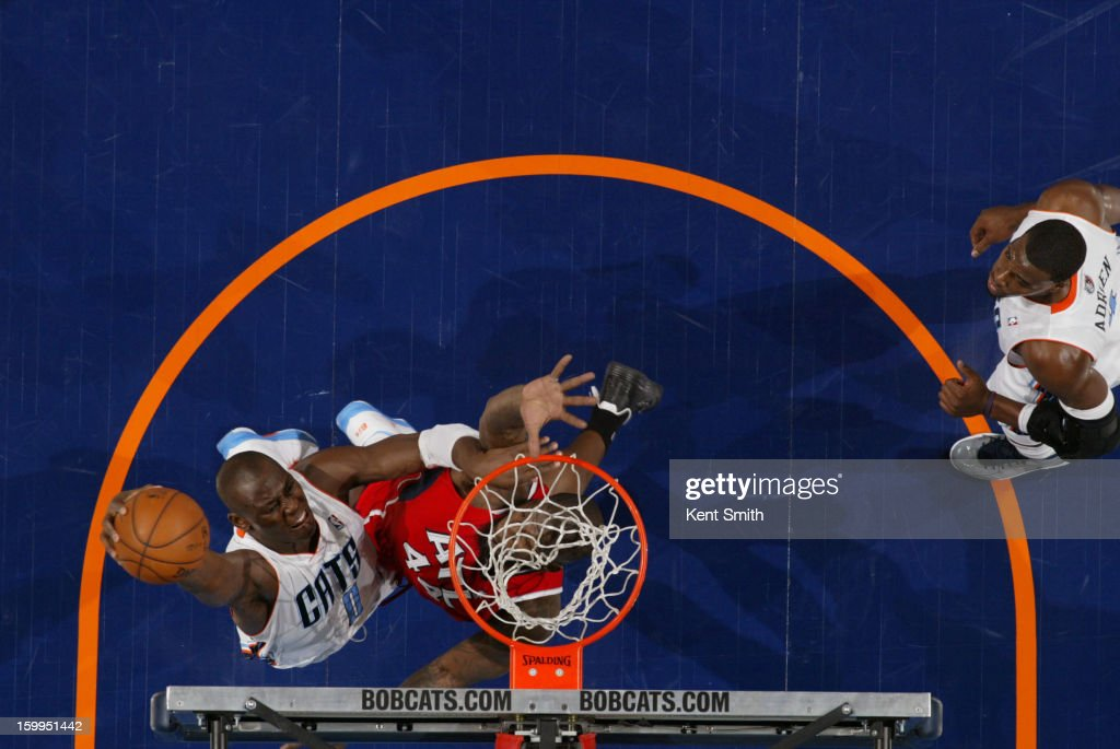 Bismack Biyombo #0 of the Charlotte Bobcats shoots against the Atlanta Hawks at the Time Warner Cable Arena on January 23, 2013 in Charlotte, North Carolina.