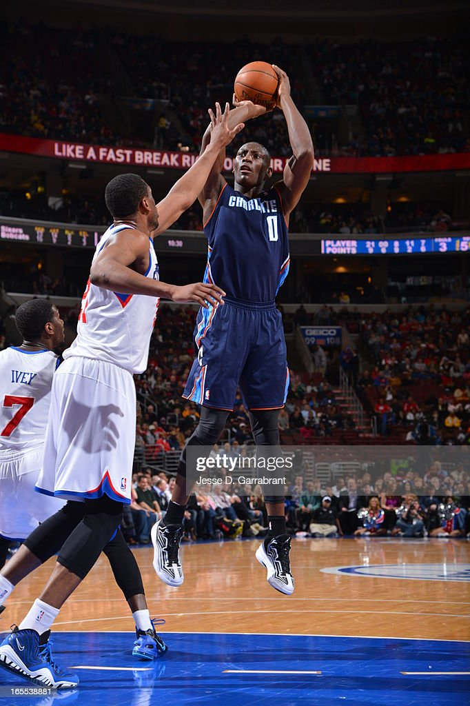Bismack Biyombo #0 of the Charlotte Bobcats takes a shot against the Philadelphia 76ers at the Wells Fargo Center on March 30, 2013 in Philadelphia, Pennsylvania.