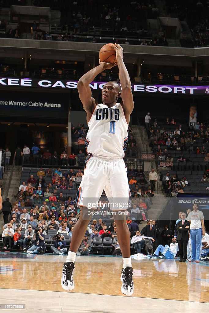 Bismack Biyombo #0 of the Charlotte Bobcats takes a shot against the Toronto Raptors at the Time Warner Cable Arena on March 20, 2013 in Charlotte, North Carolina.