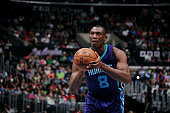 Bismack Biyombo of the Charlotte Hornets attempts a free throw against the Los Angeles Clippers on March 17 2015 at Staples Center in Los Angeles...