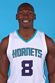 Bismack Biyombo of the Charlotte Hornets poses for a portrait during 2014 NBA Media Day on September 29 2014 at Charlotte North Carolina NOTE TO USER...
