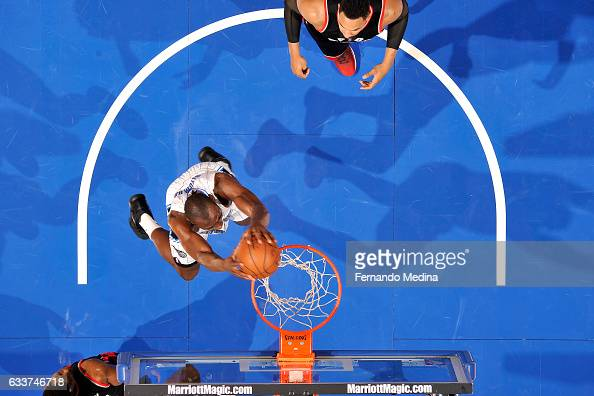 Bismack Biyombo of the Orlando Magic dunks the ball during the game against the Toronto Raptors on February 3 2017 at Amway Center in Orlando Florida...