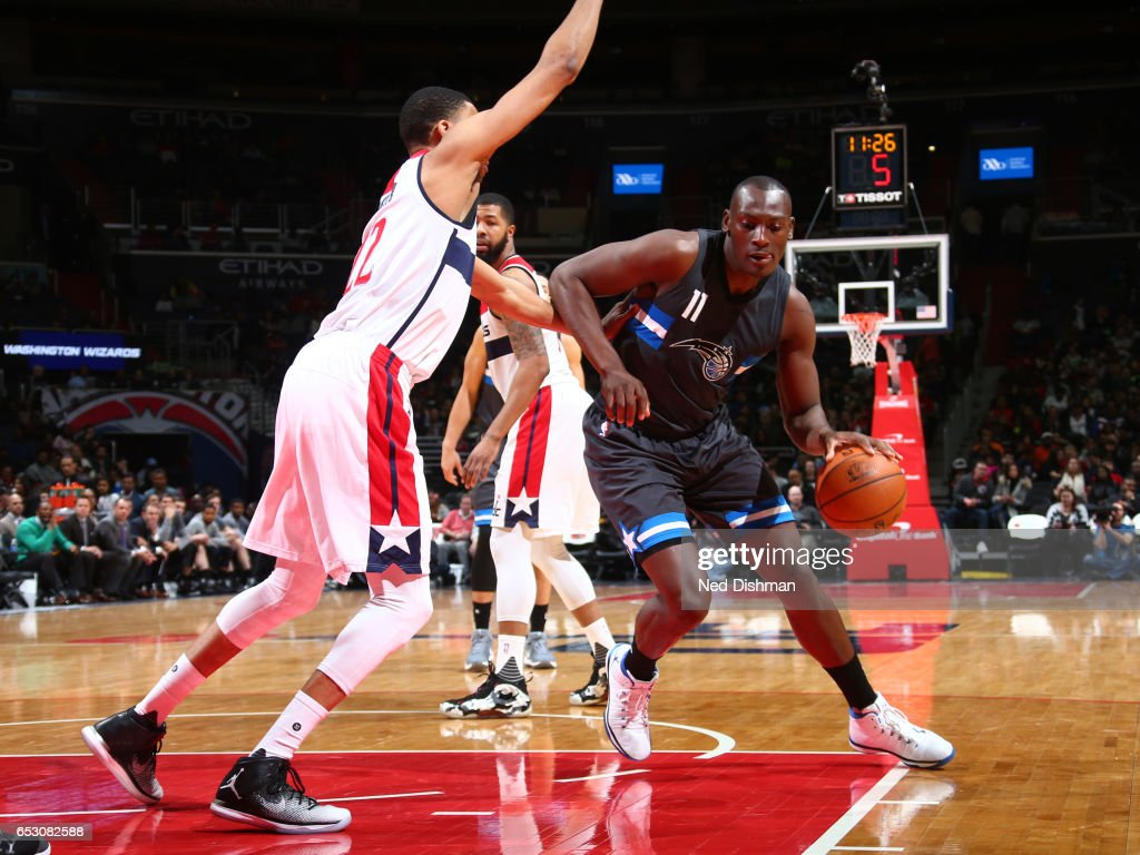 Bismack Biyombo #11 of the Orlando Magic handles the ball against the Washington Wizards on March 5, 2017 at Verizon Center in Washington, DC.