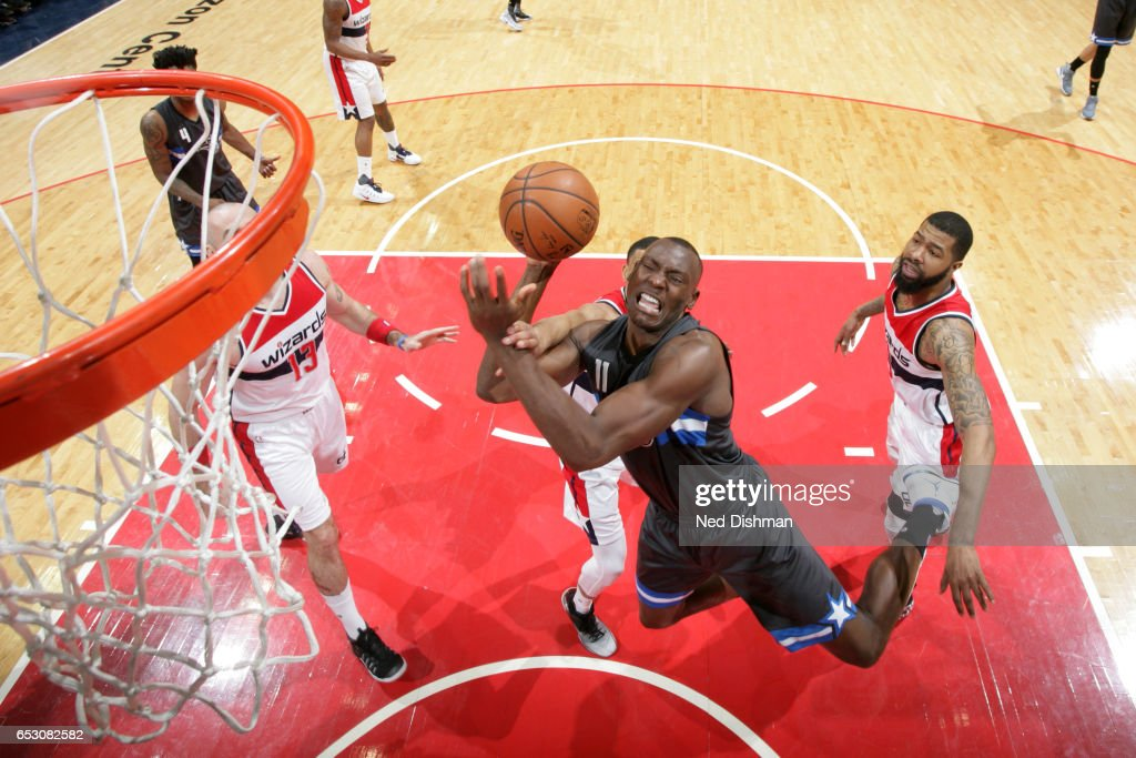 Bismack Biyombo #11 of the Orlando Magic shoots the ball against the Washington Wizards on March 5, 2017 at Verizon Center in Washington, DC.