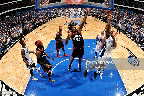 Bismack Biyombo of the Orlando Magic shoots the ball during the game against the Toronto Raptors on February 3 2017 at Amway Center in Orlando...