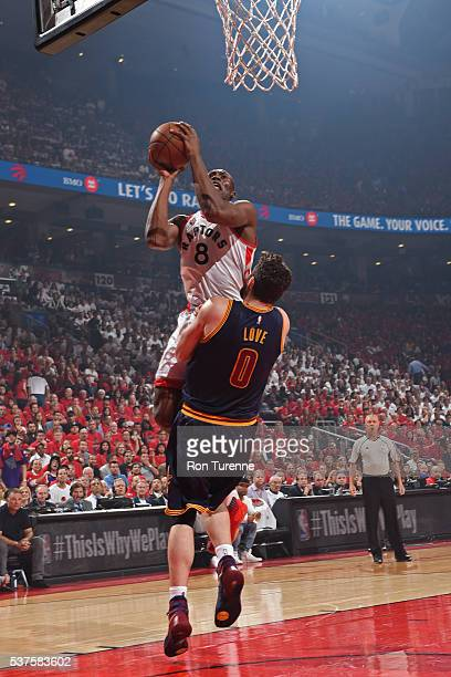 Bismack Biyombo of the Toronto Raptors drives to the basket against the Cleveland Cavaliers in Game Six of the NBA Eastern Conference Finals at Air...