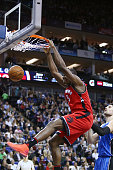 Bismack Biyombo of the Toronto Raptors dunks against the Orlando Magic as part of the 2016 Global Games London on January 14 2016 at The O2 Arena in...