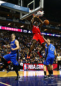 Bismack Biyombo of the Toronto Raptors dunks during the 2016 NBA Global Games London match between Toronto Raptors and Orlando Magic at The O2 Arena...