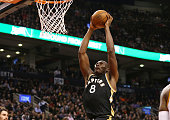 Bismack Biyombo of the Toronto Raptors dunks the ball against the Cleveland Cavaliers on November 25 2015 at Air Canada Centre in Toronto Ontario...