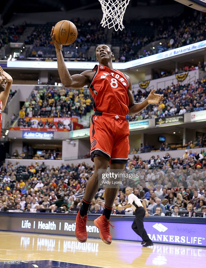 Bismack Biyombo of the Toronto Raptors grabs a rebound against the Indiana Pacers during the game at Bankers Life Fieldhouse on March 17 2016 in...