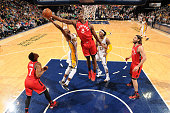 Bismack Biyombo of the Toronto Raptors grabs the rebound against the Indiana Pacers on March 17 2016 at Bankers Life Fieldhouse in Indianapolis...
