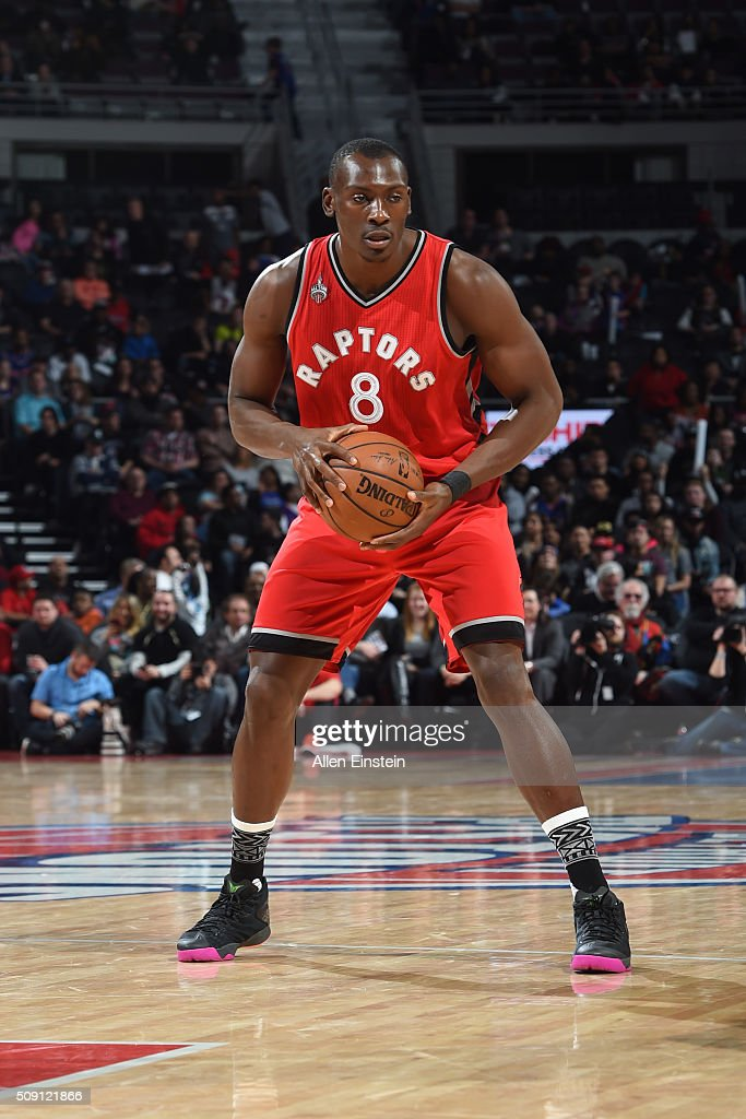 <a gi-track='captionPersonalityLinkClicked' href=/galleries/search?phrase=Bismack+Biyombo&family=editorial&specificpeople=7640443 ng-click='$event.stopPropagation()'>Bismack Biyombo</a> #8 of the Toronto Raptors handles the ball against the Detroit Pistons on February 8, 2016 at The Palace of Auburn Hills in Auburn Hills, Michigan.