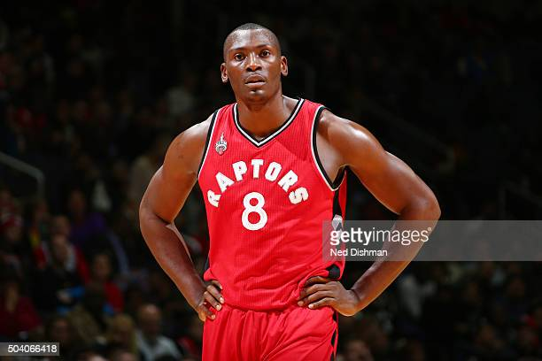 Bismack Biyombo of the Toronto Raptors is seen during the game against the Washington Wizards on January 8 2016 at Verizon Center in Washington DC...