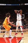 Bismack Biyombo of the Toronto Raptors looks to pass the ball against the Cleveland Cavaliers during the game on October 18 2015 at the Air Canada...