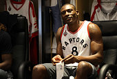Bismack Biyombo of the Toronto Raptors prepares to face the Cleveland Cavaliers in Game Six of the Eastern Conference Finals during the 2016 NBA...